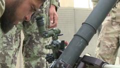 Army Afghanistan Line Up Mortar Stock Footage