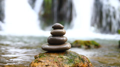 Zen stones and waterfall Stock Footage
