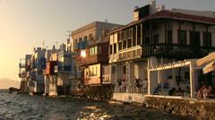 Sunset in  Little Venice of Mykonos Island in Greece Stock Footage