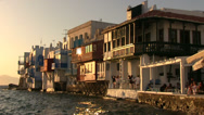 Stock Video Footage of Sunset in  Little Venice of Mykonos Island in Greece