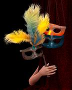 Stock Illustration of Beautiful young woman hand with curtain and carnival mask