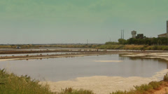Salt Production in Samouco Portugal Stock Footage