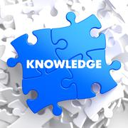 Knowledge Concept on Blue Puzzle. - stock illustration
