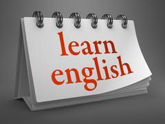 Learn English -Red Words on Desktop Calendar. Stock Illustration