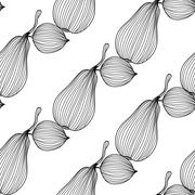elegant seamless pattern with decorative pears, healthy food background - stock illustration