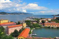 View of navy base in la spezia, italy. Stock Photos