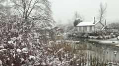 Finn Slough, Winter Snow, Richmond Stock Footage