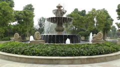 European Style Park Fountain in Sichuan China 5 - stock footage