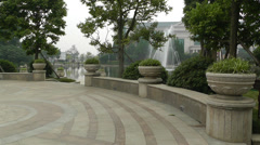 European Style Park Fountain in Sichuan China 6 - stock footage