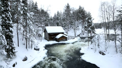 Myllykoski Rapids old wooden Mill Juuma Oulanka Nat Pk Finland - stock footage