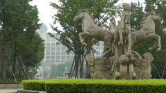 European Style Park Statues Sichuan China 2 Stock Footage