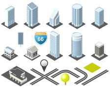 isometric map toolkit downtown - stock illustration