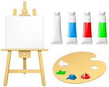 easel with blank board and palette - stock illustration