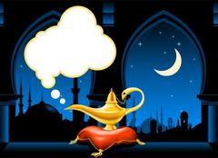 magic lamp on the pillow and arabic city skyline - stock illustration