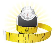 Weights and tape measure Stock Illustration