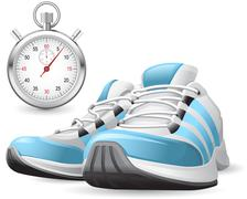 running shoes and stopwatch - stock illustration