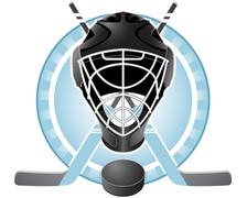 emblem with goaltender helmet, hockey sticks and puck - stock illustration