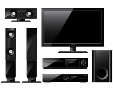 home theater system with tv and loudspeakers - stock illustration