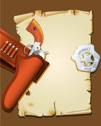 wild west poster with handgun and sheriff badge - stock illustration