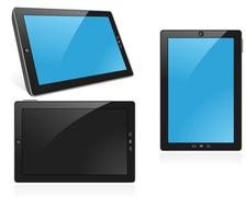 Digital tablet in different positions with blank touch screen Stock Illustration