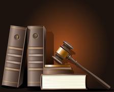 Tuomari nuija ja kirja lain Piirros
