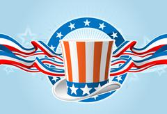 fourth of july emblem with uncle sam top hat and ribbons - stock illustration