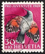 Postage stamp Switzerland 1969 Wall Creeper, Tichodroma Muraria, - stock photo