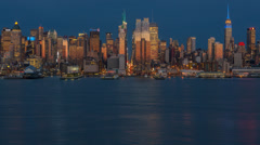 New York City Skyline at twilight Stock Footage