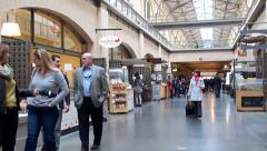 Buyers at the Farmers market in Ferry Building Marketplace. San Francisco - stock footage