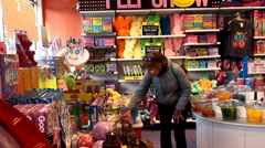 Buyers in the Candy & Fun Gift store. San Francisco, California, USA. Stock Footage