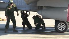 Marine Fighter Crew Check Aircraf Stock Footage