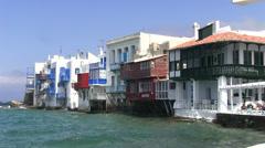 famous place in Mykonos Island in Greece - stock footage