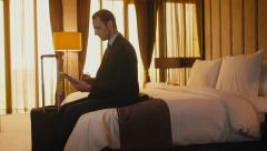 14of21 Business travel, people working in hotel room, man, manager Stock Footage