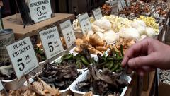 Fresh mushrooms in the Farmers market. Ferry Building Marketplace, San Francisco Stock Footage