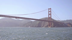 San Francisco Golden Gate Bridge seen from water slow motion Stock Footage
