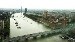 Panorama of central London, UK Stock Footage
