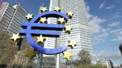 Euro symbol in Willy Brandt Platz Frankfurt Stock Footage