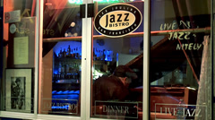 Showcase of Les Joulins Jazz Bistro with the jazz pianist. San Francisco Stock Footage