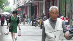 Jintang Town Chengdu Area Sichuan China 21 street handheld Stock Footage