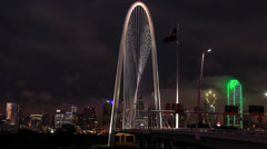 Dallas Night Skyline time-lapse Zoom w/Margaret Hunt HIll Bridge Stock Footage