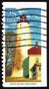 Postage stamp USA 1990 Sandy Hook, New Jersey, Lighthouse - stock photo