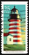 Postage stamp USA 1990 West Quoddy Head, Maryland, Lighthouse Stock Photos