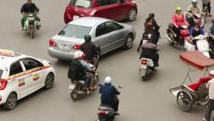 Top view of people and traffic in Hoan Kiem district Stock Footage