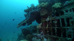 Ocean scenery B17, pan from gun turrent to along fuselage, on wreckage, HD, - stock footage