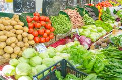 Fruits and vegetables at the market stall Stock Photos