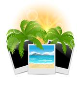 summertime background with set photo frames - stock illustration
