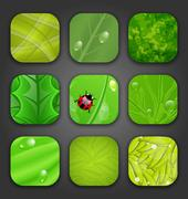 Ecologic backgrounds with leaves texture for the app icons Stock Illustration
