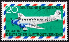 Postage stamp Germany 1969 Junkers 52, airplane - stock photo
