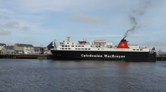 Calmac ferry MV Isle of Lewis departing Stornoway Stock Footage