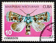 Postage stamp Cuba 1979 Heterochroma, Nocturnal Butterfly Stock Photos